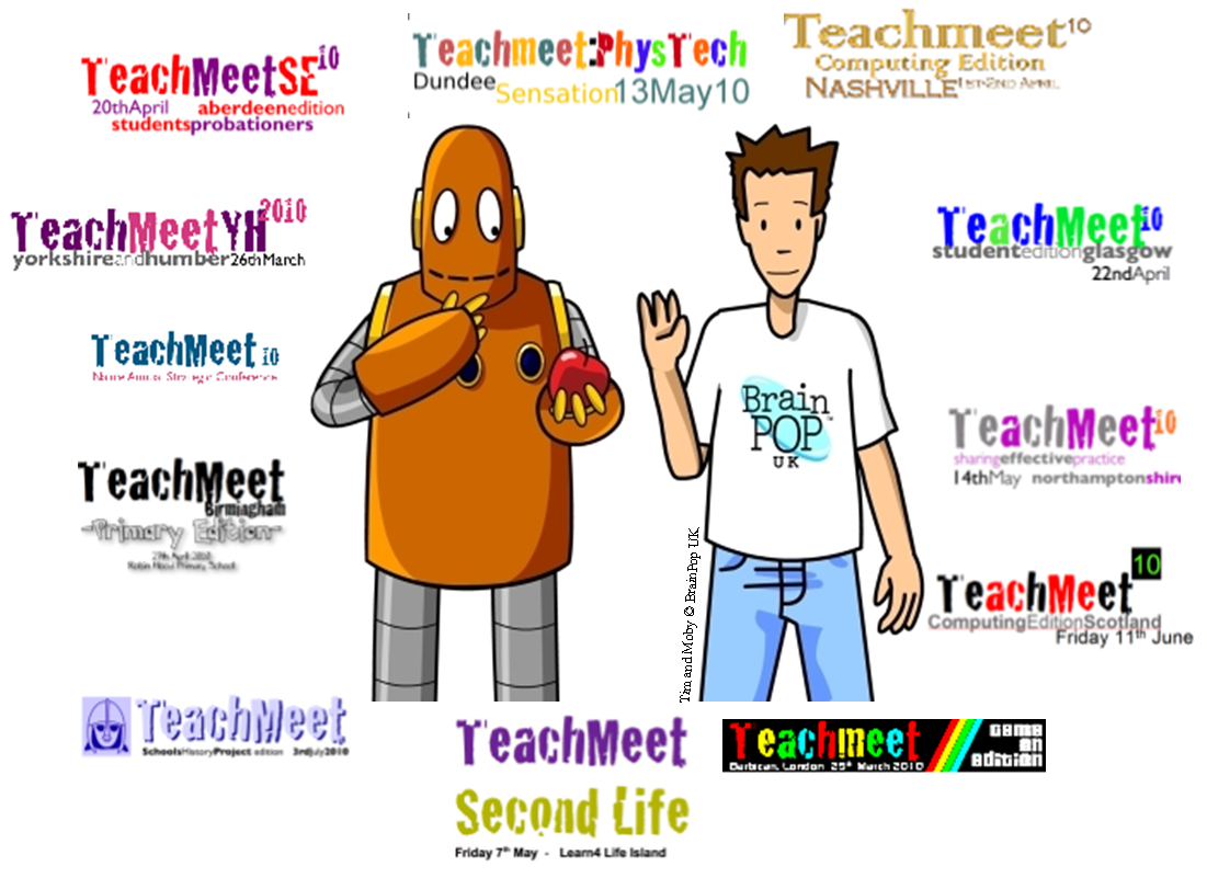 Tim and Moby show off the range of TeachMeets currently on the wiki