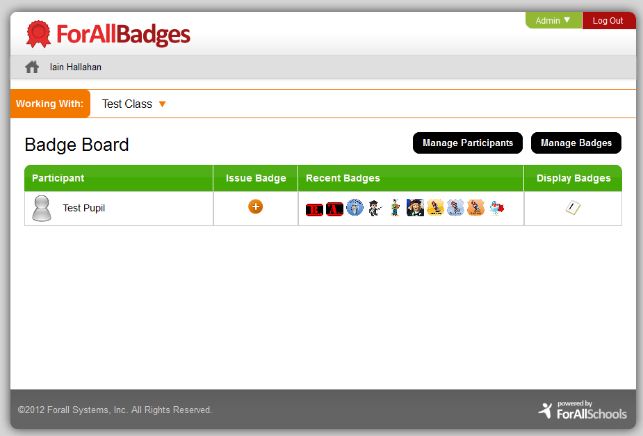ForAllBadges Badge Board